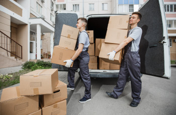 movers carrying moving boxes