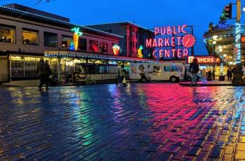 Public Market Center at night