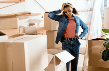 Woman preparing for moving