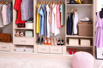 wardrobe with shoes and clothes