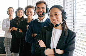 A team of professional support team members