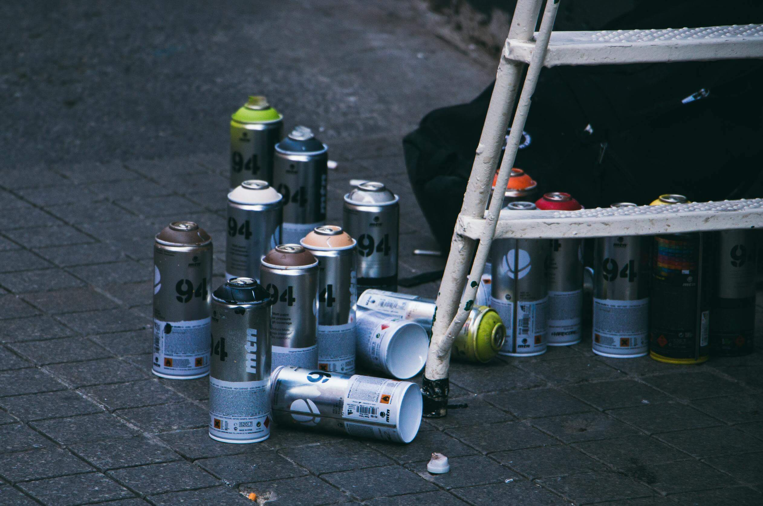 Spray cans with paint