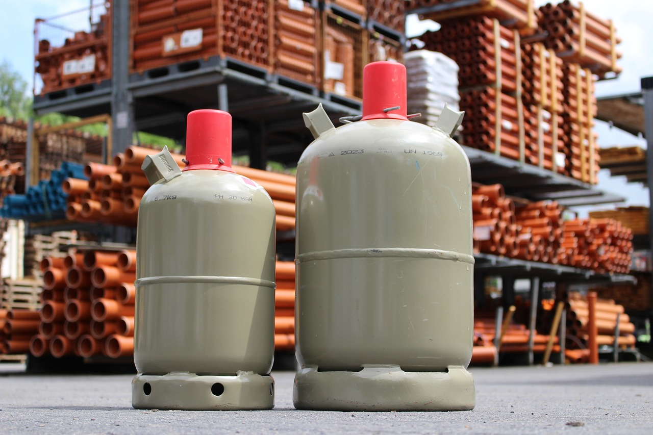 Gas bottles in a warehouse