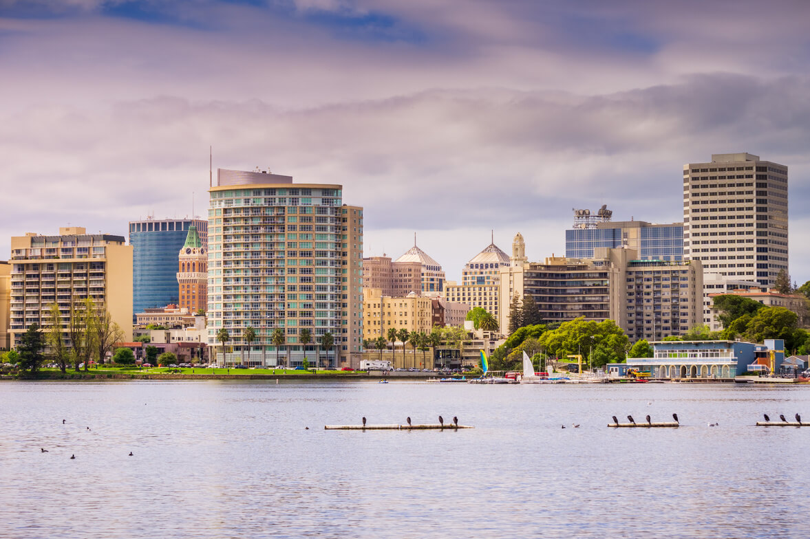 View of the lake and buildings in Oakland