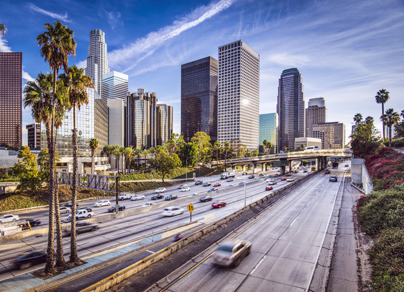 A view of the street in Los Angeles