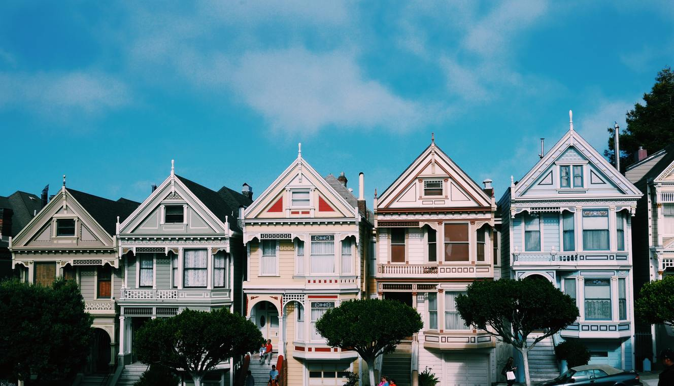 Front view of a row of houses
