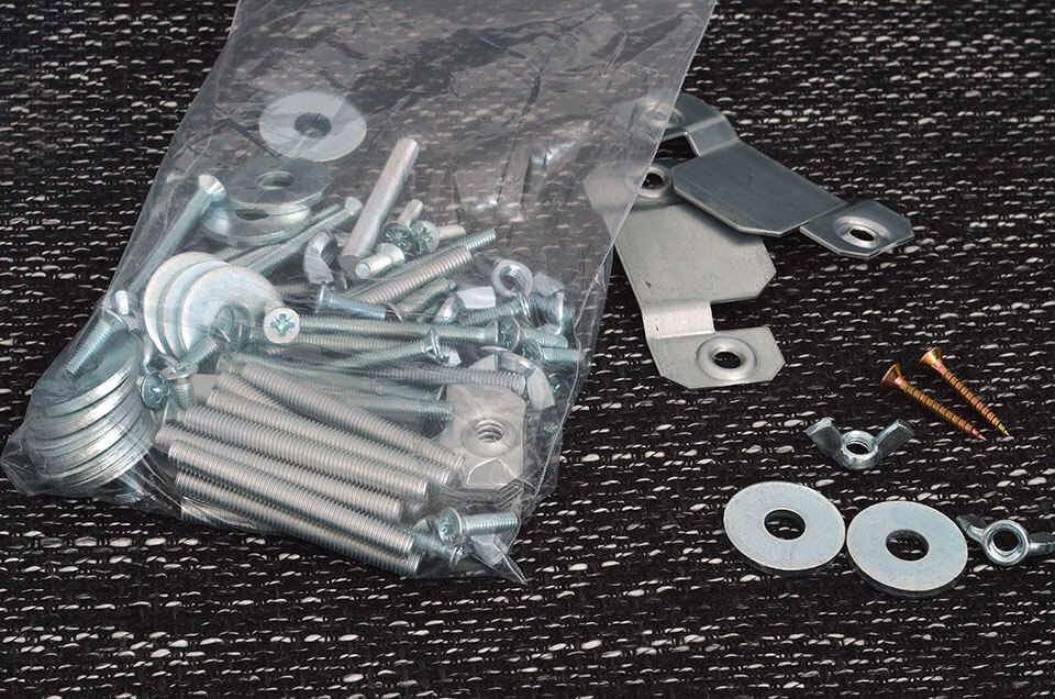 A bunch of screws and other spare parts