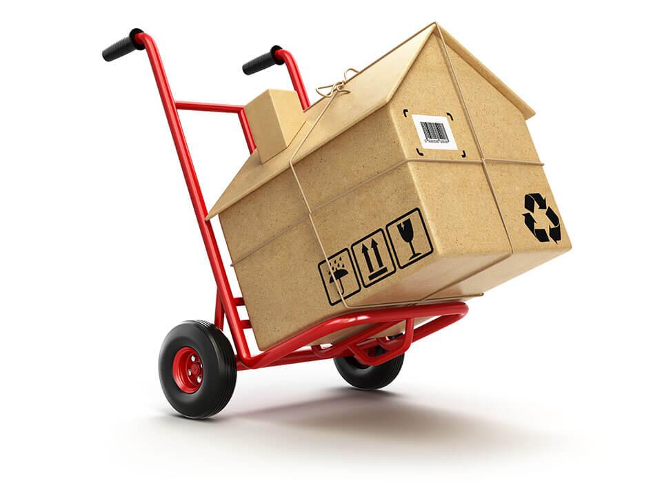 A moving company dolly