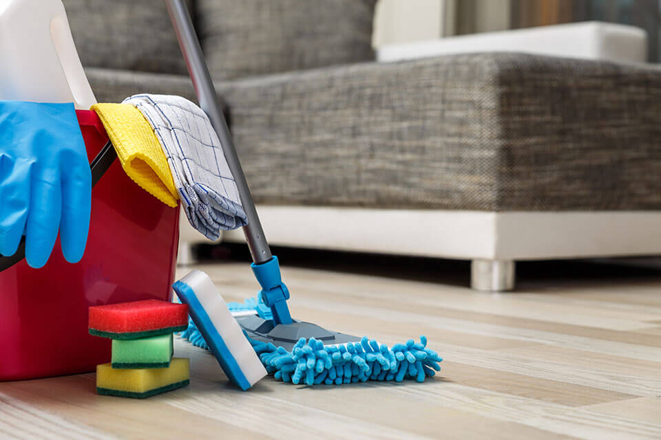 Cleaning materials in a living room
