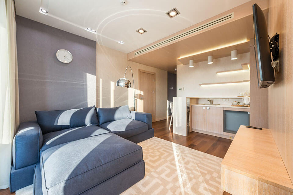 Modern small apartment interior ready for a moving company